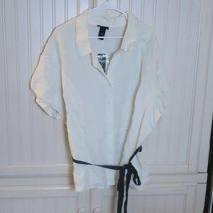 Lane Bryant Off White Linen Blouse Size 26/28